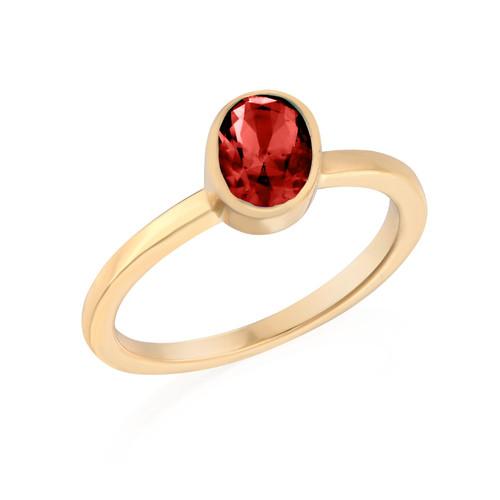 18K Gold Plated Stackable Velvet Red Oval Ring