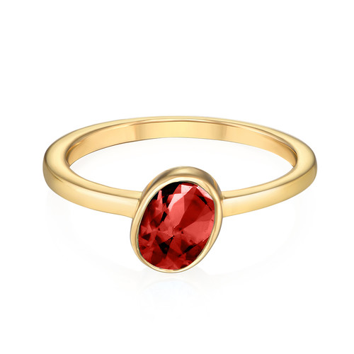 18K Gold Plated Stackable Velvet Red Oval Ring - 1