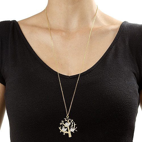 Gold Plated Tree Necklace with Silver Initial Birds - 1