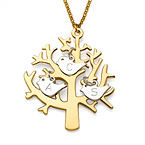 Gold Plated Tree Necklace with Silver Initial Birds