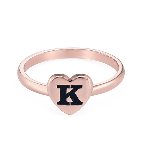 18K Rose Gold Plated Heart Initial Stacking Ring - 1
