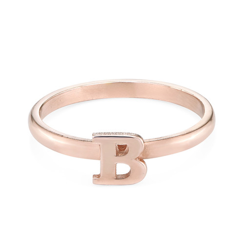 18K Rose Gold Plated Initial Stacking Ring - 1