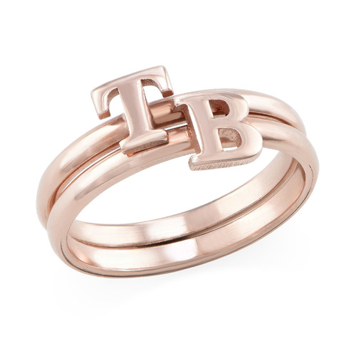 18K Rose Gold Plated Initial Stacking Ring - 2