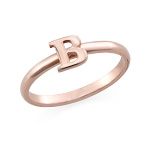 18K Rose Gold Plated Initial Stacking Ring