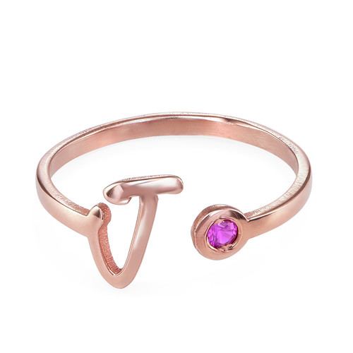 18K Rose Gold Plated Open Initial Birthstone Ring - 1