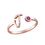 18K Rose Gold Plated Open Initial Birthstone Ring