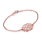 18K Rose Gold Plated Silver Monogram Bracelet