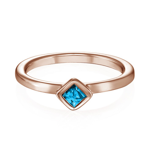 18K Rose Gold Plated Stackable Blue Lagoon Rhombus Ring - 1