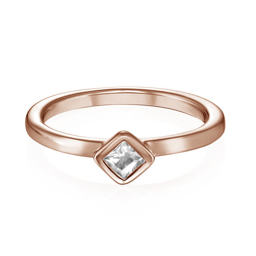 18K Rose Gold Plated Stackable Crystal Clear Rhombus Ring - 1