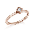 18K Rose Gold Plated Stackable Crystal Clear Rhombus Ring