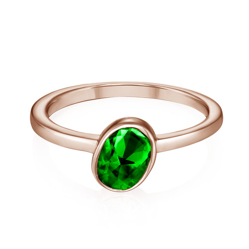 18K Rose Gold Plated Stackable Emerald Green Oval Ring - 1