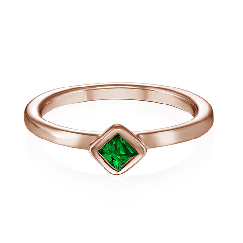 18K Rose Gold Plated Stackable Emerald Green Rhombus Ring - 1