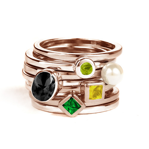 18K Rose Gold Plated Stackable Emerald Green Rhombus Ring - 2