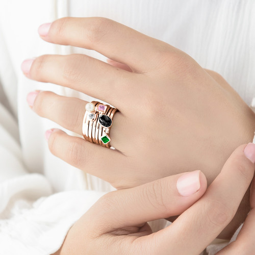 18K Rose Gold Plated Stackable Emerald Green Rhombus Ring - 3
