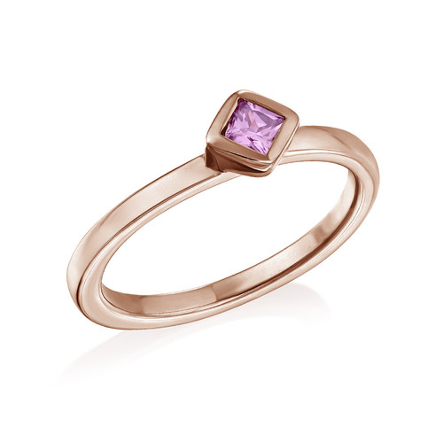18K Rose Gold Plated Stackable Misty Rose Rhombus Ring
