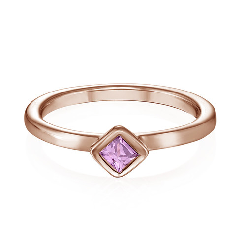 18K Rose Gold Plated Stackable Misty Rose Rhombus Ring - 1