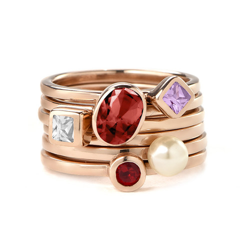 18K Rose Gold Plated Stackable Misty Rose Rhombus Ring - 2