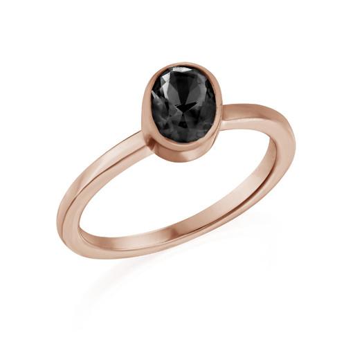 18K Rose Gold Plated Stackable Oval Shock Black Ring