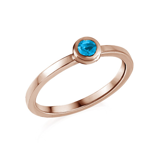 18K Rose Gold Plated Stackable Round Blue Lagoon Ring