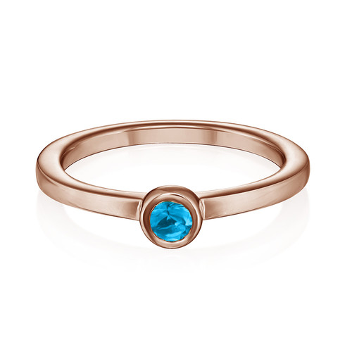 18K Rose Gold Plated Stackable Round Blue Lagoon Ring - 1