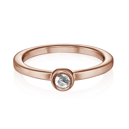 18K Rose Gold Plated Stackable Round Crystal Clear Ring - 1