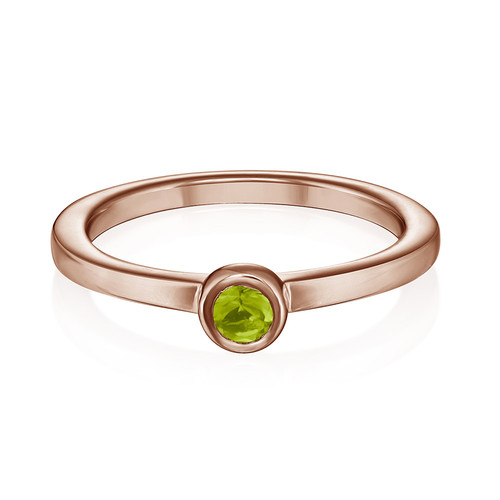 18K Rose Gold Plated Stackable Round Limelicious Green Ring - 1