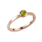 18K Rose Gold Plated Stackable Round Limelicious Green Ring