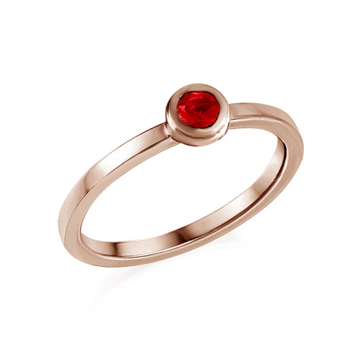 18K Rose Gold Plated Stackable Round Ruby Red Ring
