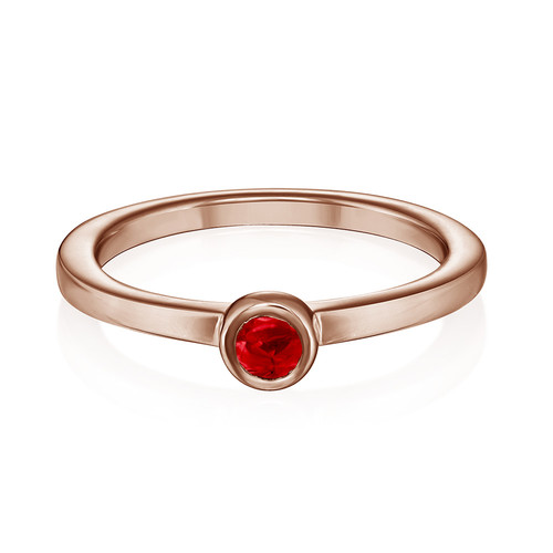18K Rose Gold Plated Stackable Round Ruby Red Ring - 1