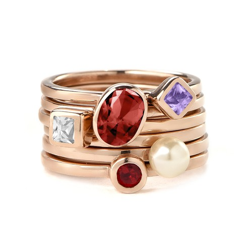 18K Rose Gold Plated Stackable Round Ruby Red Ring - 2