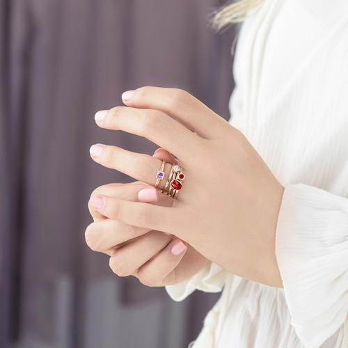 18K Rose Gold Plated Stackable Round Ruby Red Ring - 3