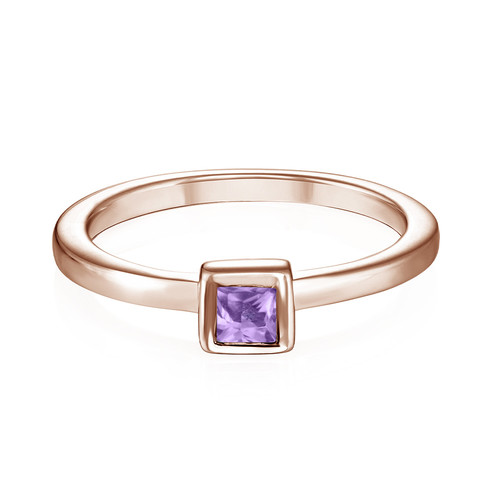 18K Rose Gold Plated Stackable Square Lavender Scents Ring - 1