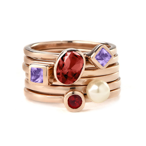 18K Rose Gold Plated Stackable Square Lavender Scents Ring - 2