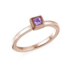 18K Rose Gold Plated Stackable Square Lavender Scents Ring