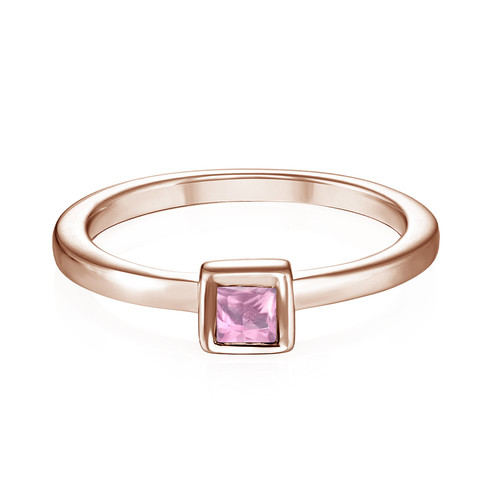18K Rose Gold Plated Stackable Square Misty Rose Ring - 1