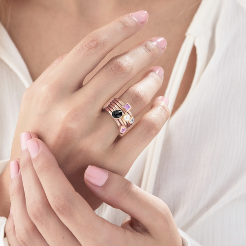 18K Rose Gold Plated Stackable Square Misty Rose Ring - 3