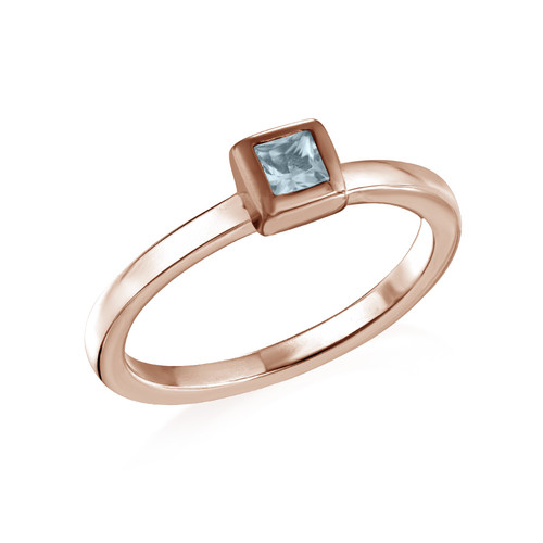 18K Rose Gold Plated Stackable Square Sky Blue Ring