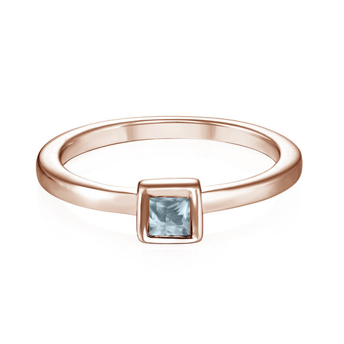 18K Rose Gold Plated Stackable Square Sky Blue Ring - 1