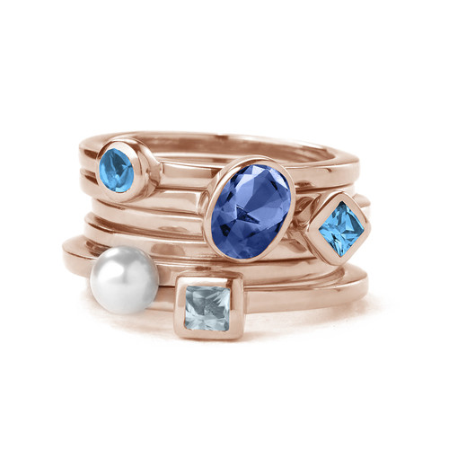 18K Rose Gold Plated Stackable Square Sky Blue Ring - 2