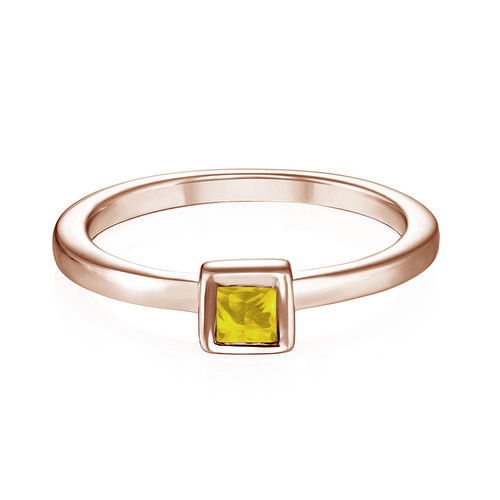 18K Rose Gold Plated Stackable Square Sunshine Yellow Ring - 1