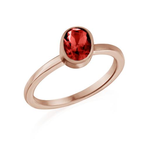 18K Rose Gold Plated Stackable Velvet Red Oval Ring