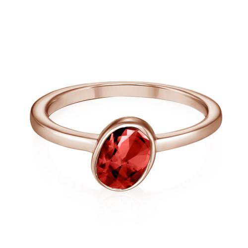 18K Rose Gold Plated Stackable Velvet Red Oval Ring - 1
