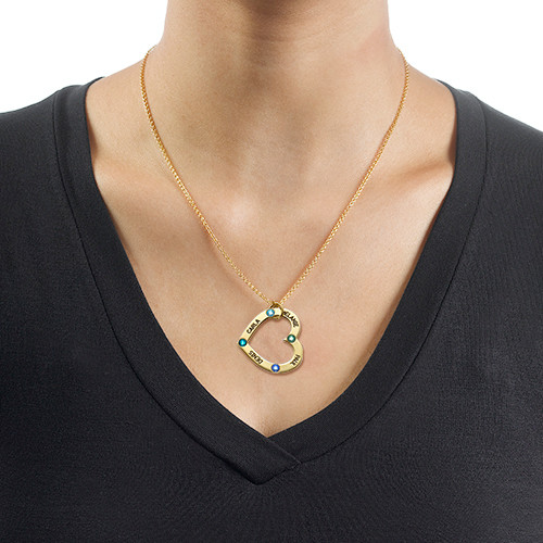 18k Gold Plated Birthstone Heart Necklace - 1