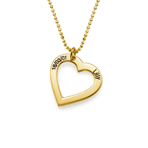 18k Gold Plated Silver Engraved Heart Necklace