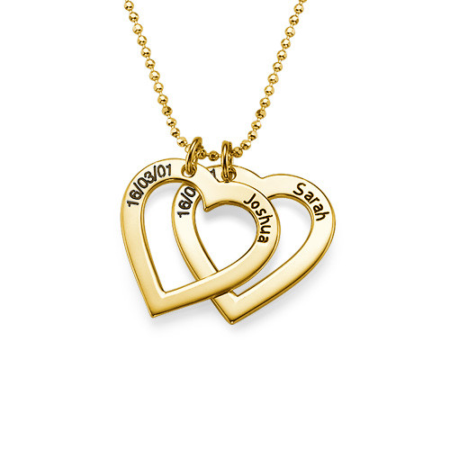 18k Gold Plated Silver Engraved Heart Necklace - 1