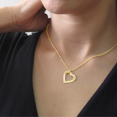 18k Gold Plated Silver Engraved Heart Necklace - 2