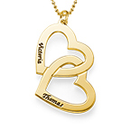 18k Gold Plated Heart in Heart Necklace