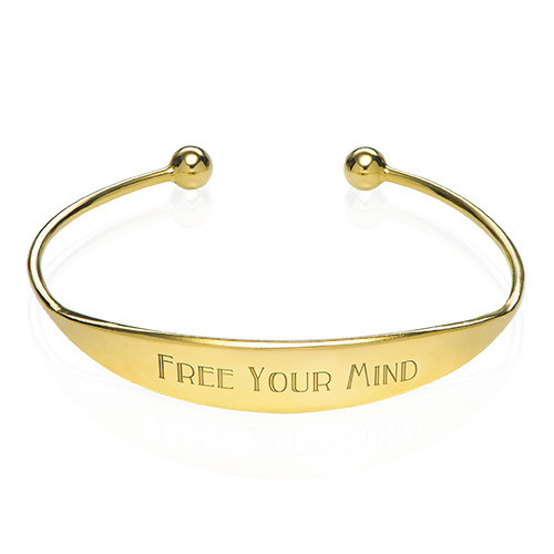 18k Gold Plated ID Bangle Bracelet