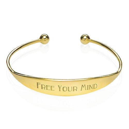 18k Gold Plated ID Bangle Bracelet