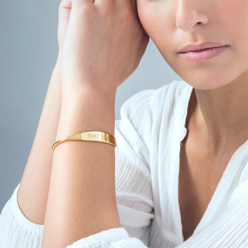 18k Gold Plated ID Bangle Bracelet - 1